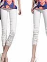 Women\'s White/Black/Blue Elegant Lace Flower Embroidery Slim Pants