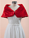 Wedding  Wraps Capelets Sleeveless Faux Fur White / Champagne / Red Wedding / Party/Evening Rhinestone Clasp