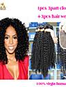 Trame cheveux avec fermeture Cheveux Malaisiens Ondulation Lache 12 mois 4 Pieces tissages de cheveux