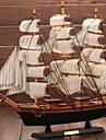 trä segelbåt modell medelhavs- piratskepp gåva hantverk fartyg släta inredningsartiklar (ramdon färg)