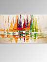 VISUAL STAR®Abstract Boat on Sea Handmade Painting Modern Landscape Wall Art Ready to Hang