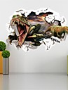 3D Dinosaurs Through The Wall Stickers Jurassic Park Home Decoration Zooyoo Cartoon Kids Room Wall Decal Movie Mural Art