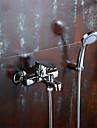 Contemporain Montage mural Douchette inclue with  Valve en ceramique Mitigeur un trou for  Chrome , Robinet lavabo