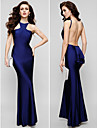 TS Couture® Formal Evening Dress - Beautiful Back Plus Size / Petite Sheath / Column Jewel Floor-length Charmeuse with