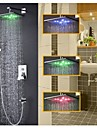 Robinet de douche - Contemporain - LED / Thermostatique / Douche pluie / Douchette inclue - Laiton ( Chrome )