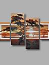 HANDMÅLAD Abstrakt / Landskap / Abstrakta landskapModerna Fyra paneler Kanvas Hang målad oljemålning For Hem-dekoration