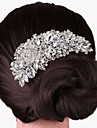 Luxury Silver Crystal Rhinestone Flower Hair Comb for Wedding Party Hair Jewelry