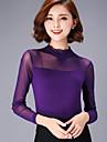 Femei Stil Nautic Bluză Casul/Zilnic Plus Size / Sexy,Mată Manșon Lung Primăvară-Negru / Violet Subțire Bumbac / Poliester