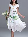 Vestito Da donna Largo Moda citta Fantasia floreale Asimmetrico Rotonda Lino