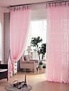 Deux Panneaux Rustique / Moderne / Designer Rayure / Courbe / Vin Rose Salle de sejour Polyester Sheer Rideaux Shades