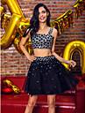 TS couture® 파티 칵테일 파티 드레스 - A 라인이 구슬과 짧은 / 미니 새틴 / 얇은 명주 그물을 끈 두 조각