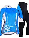 NUCKILY® Cykeltröja och tights Dam Lång ärm CykelAndningsfunktion / Vindtät / Anatomisk design / Fuktgenomtränglighet / Dragkedja fram /