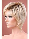 ombre perruque de cheveux blonds courts droite avec les racines sombres perruques de cheveux synthetiques pour les femmes Livraison