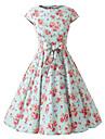 Capac pentru femei maneci flori de menta rochie florale, capac de epocă mâneci 50s swing rockabilly rochie