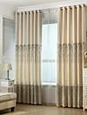 Deux Panneaux Rustique / Europeen Vin Noir / Blanc / Vert fonce Salle de sejour Melange Lin/Coton Rideaux occultants rideaux