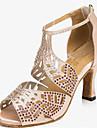 Customizable Women\'s Dance Shoes Latin / Jazz Shoes / Salsa / Samba Satin Customized Heel Rhinestone Black / Pink / Red