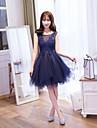 A-linie cu lopata genunchiul lungime dantelă dantelă rochie de bal cu flori