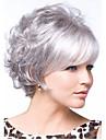 nyanlända syntetiskt hår silvergrå kort lockigt hår peruk fri frakt