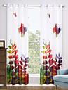 Deux Panneaux Moderne Floral / Botanique Multicolore Salle de sejour Polyester Sheer Rideaux Shades