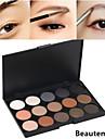 15 färger professionella 2in1 naturliga långvarig rökiga matt&skimmer ögonbryn pulver / ögonskugga kosmetisk palett