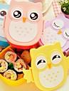 1050ml söta ugglan matlåda lagringsbehållare bärbara Bento mat säker picknick container (slumpvis färg)