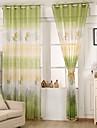 Un Panneau Rustique Floral / Botanique Comme image Salle de sejour Polyester Sheer Rideaux Shades