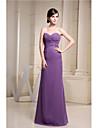 Floor-length Chiffon Bridesmaid Dress - Sheath / Column Sweetheart with Side Draping