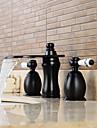 Contemporain Diffusion large Cascade / large spary with  Valve en ceramique Deux poignees trois trous for  Bronze huile , Robinet lavabo