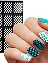 2016 nouveau clou vinyls motif de grille irreguliere estampage Conseils nail art manucure pochoir ongles 1pcs de guidage des autocollants
