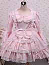 Une Piece/Robes Gothique Lolita Classique/Traditionnelle Steampunk® Cosplay Vetrements Lolita Couleur Pleine Manches longues Court Robe