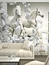 samtida 3d skinande läder effekt stor väggmålning tapet vit hästkonst väggdekor