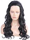 mode syntetiska peruker spets front peruker 24inch vågigt svart värmebeständigt hår peruker kvinnor