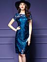 De las mujeres Vaina Vestido Tallas Grandes / Casual/Diario Vintage,Estampado Escote Redondo Hasta la Rodilla Manga Corta Azul Poliester