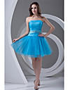 Cocktail Party Prom Dress - Sexy A-line Strapless Short / Mini Tulle with Beading Draping Sash / Ribbon