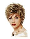 nya kvinnor 12-tums kort lockigt vågigt fluffigt syntetiska peruker sida bang blondin med gratis hårnät