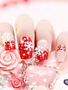 24pcs / som falsk naglar falska spik färdiga manikyr naglar tips röd snow