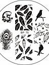 Dragon oiseaux plumes nail art modele image de timbre plaque ne jolie