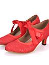 Chaussures de danse(Noir Rouge Ivoire) -Personnalisables-Talon Bobine-Satin Dentelle-Moderne
