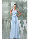 Floor-length Chiffon Bridesmaid Dress A-line Halter with Draping