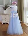 A-line Floor-length Flower Girl Dress - Tulle Short Sleeve Jewel with