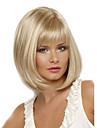 kvinnor 12-tums kort cosplay rakt syntetiskt hår peruker blond fullt bang med gratis hårnät