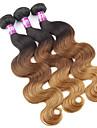 """3 st / lot 16 """"-24"""" 7a malaysiska jungfru kroppen våg hårförlängningar 100% obearbetade jungfru mänskliga ombre hår väver"""
