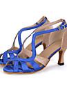Chaussures de danse(Noir Bleu Rouge) -Personnalisables-Talon Bobine-Satin Paillette Brillante-Latine