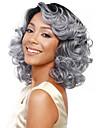24inch femmes ondes longues du corps pelucheux bang cote perruques de cheveux synthetiques granny gris argent avec connexion filet a cheveux