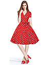 Women\'s 50s Vintage Cherry Rockabilly Hepburn Pinup Cos Party Parka Business Swing Dress,Plus Size