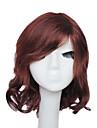 capless court brun rouge vague soyeuse 100% perruque de cheveux humains