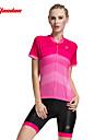 TASDAN Maillot et Cuissard de Cyclisme Femme Manches courtes Velo Cuissard  / Short Maillot Shorts Rembourres Manchettes Hauts/Tops
