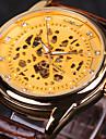 WINNER Bărbați Ceas de Mână ceas mecanic Mecanism automat Gravură scobită Piele Bandă Luxos Negru MaroAuriu Alb-Negru Negru Auriu-Negru