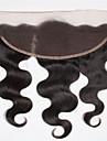 8-20inch Svart Spetsfront / Handknuten Kroppsvågor Mänskligt hår Stängning Ljusbrunt Schweizisk spets 45g-80g gram Cap Storlek