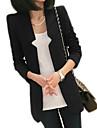 Polyester Blaa / Roed / Hvit / Sort Medium Langermet,V-hals Blazer Ensfarget Hoest Kvinner